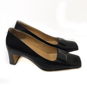 Celine 6 Black Leather Pump Pilgrim Square Toe